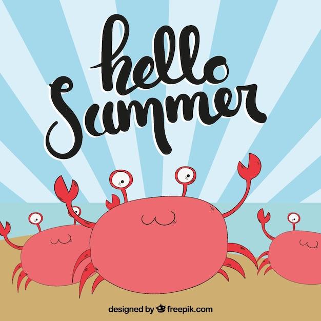 Fond D'été Avec Des Crabes Dessinés à La Main Vecteur gratuit