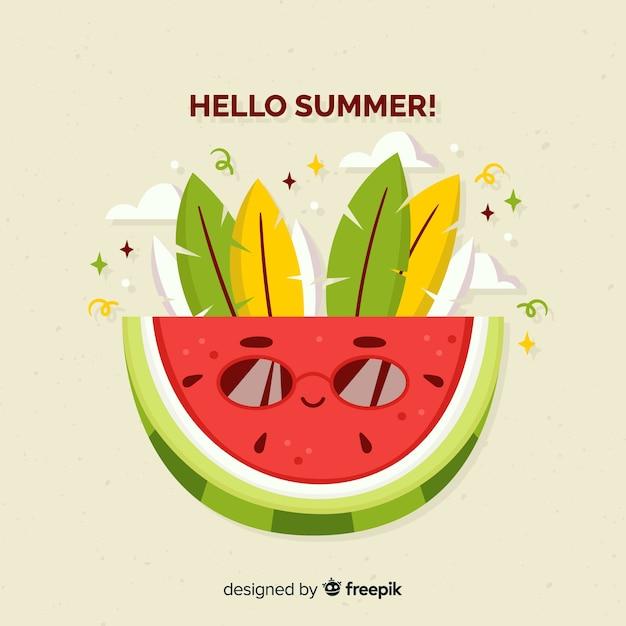 Fond d'été dessinés à la main de melon d'eau Vecteur gratuit
