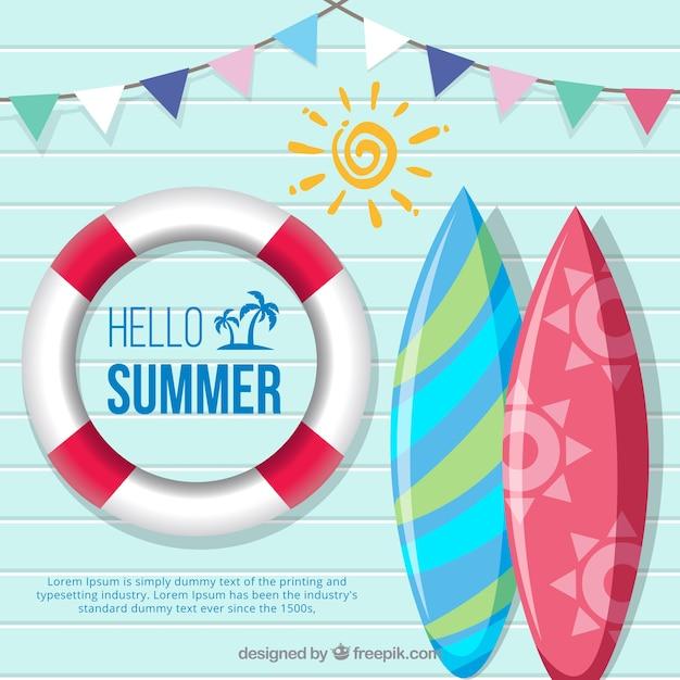 Fond De L'été Avec Des éléments De Plage Vecteur gratuit