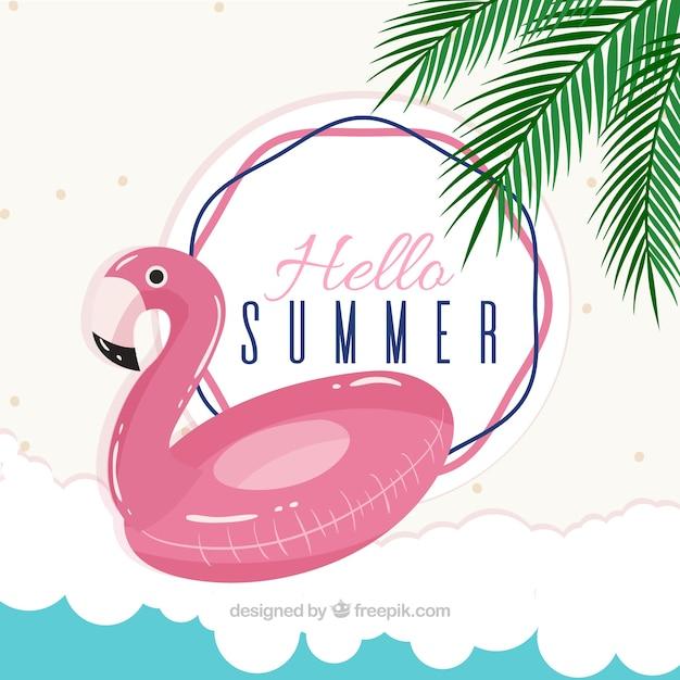 Fond d'été avec flotteur de flamenco Vecteur gratuit