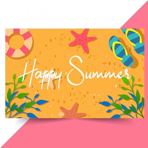 Fond d'été heureux Vecteur Premium