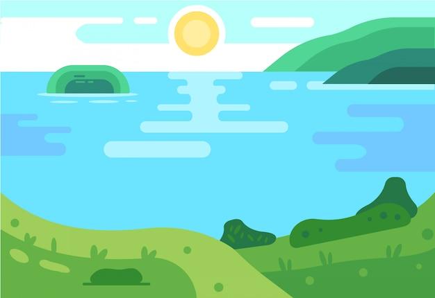Fond d'été. illustration de landsape Vecteur Premium