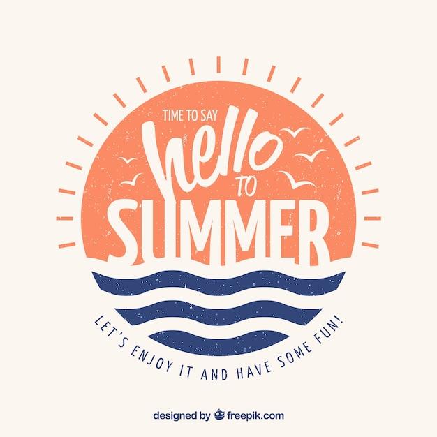Fond de l'été avec lettrage Vecteur gratuit
