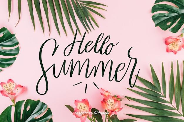 Fond d'été avec lettrage Vecteur gratuit