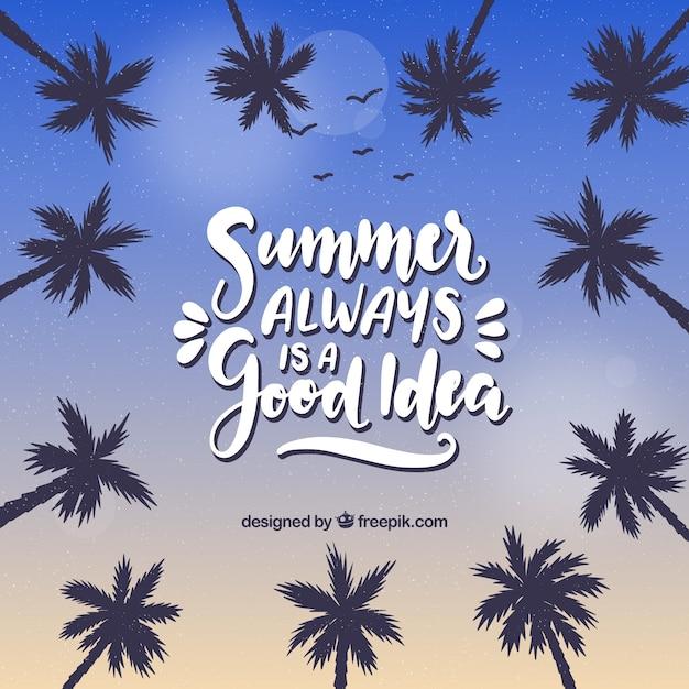 Fond De L'été Avec Des Palmiers Et Des Lettres Vecteur gratuit