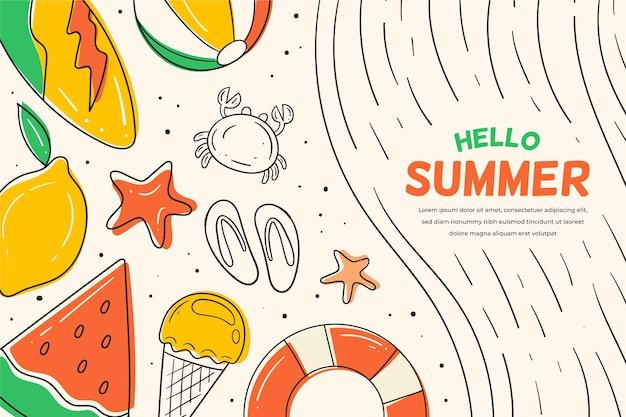 Fond D'été Avec Pastèque Et Citron Vecteur gratuit
