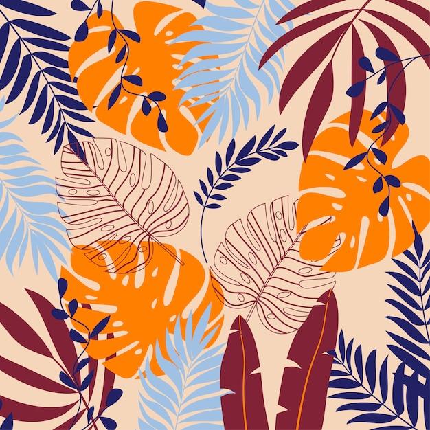 Fond d'été avec des plantes tropicales et des feuilles Vecteur Premium