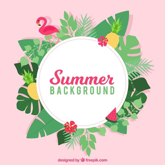Fond d'été avec un style tropical Vecteur gratuit
