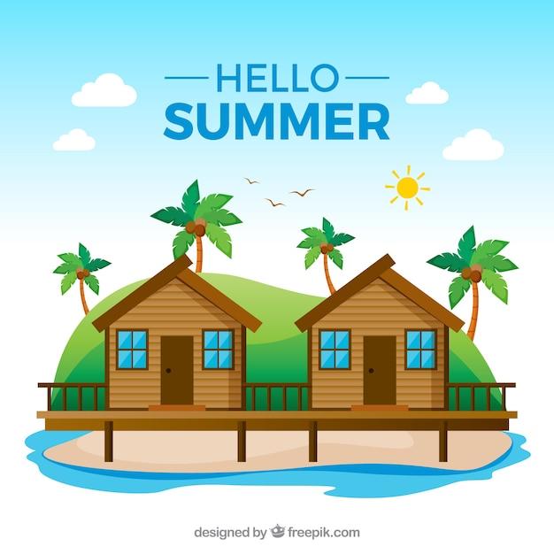 Fond De L'été Avec Vue Sur La Plage Dans Le Style Plat Vecteur gratuit
