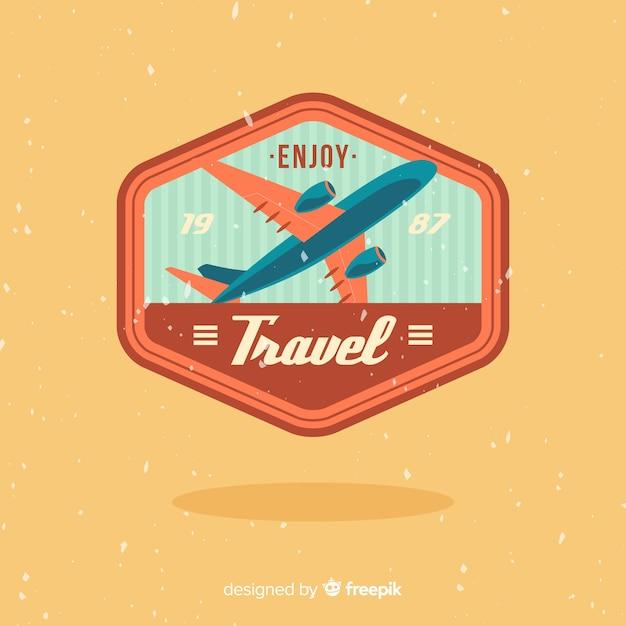 Fond d'étiquette de voyage vintage Vecteur gratuit