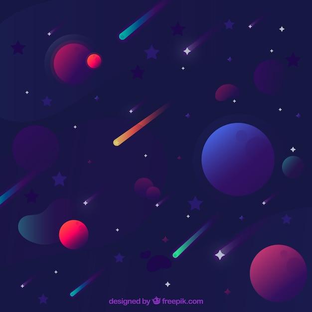 Fond d'étoile avec des planètes Vecteur gratuit