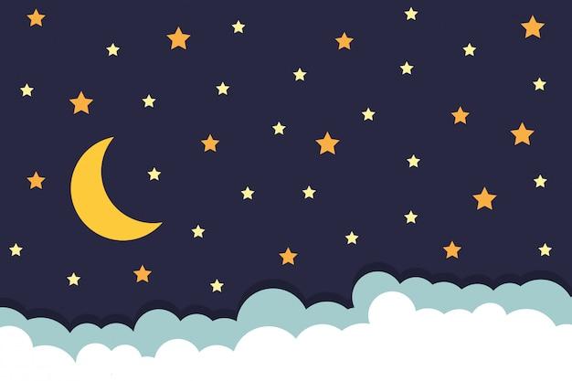 Fond avec étoiles lune et nuages sur le ciel nocturne Vecteur Premium