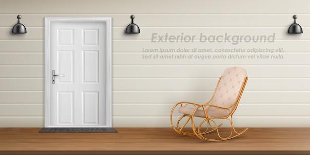 Fond Extérieur Avec Façade De Véranda. Terrasse Vide Avec Chaise Berçante Vecteur gratuit