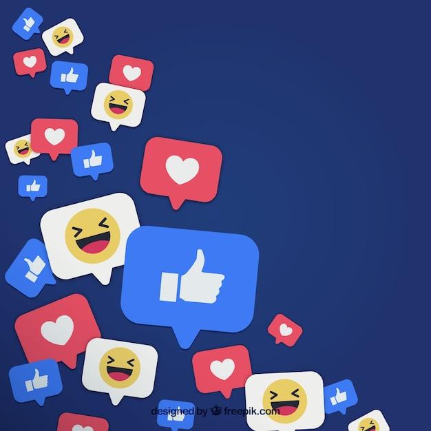 Fond Facebook avec des goûts et des coeurs Vecteur gratuit