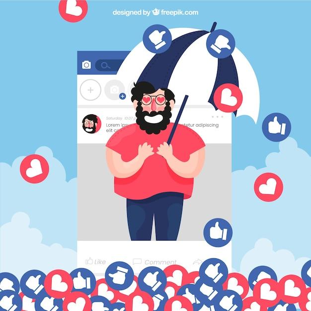 Fond facebook avec le caractère, les coeurs et les goûts Vecteur gratuit