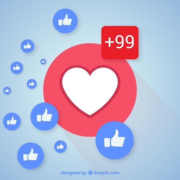 Fond facebook avec des coeurs et des goûts Vecteur gratuit