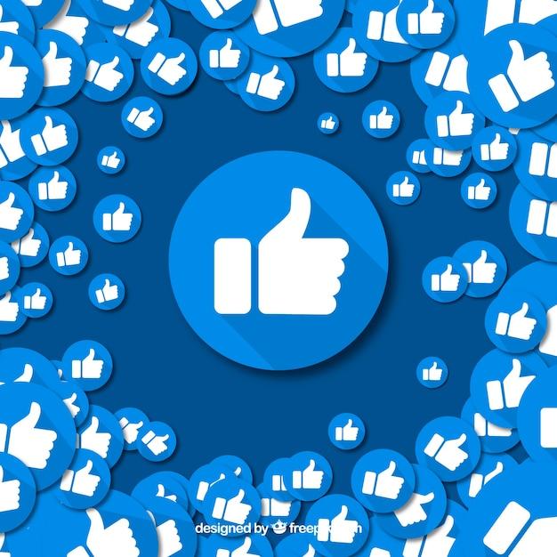 Fond facebook avec des icônes similaires Vecteur gratuit