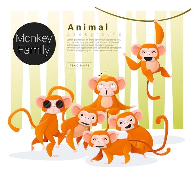 Fond de famille animal mignon avec des singes Vecteur Premium