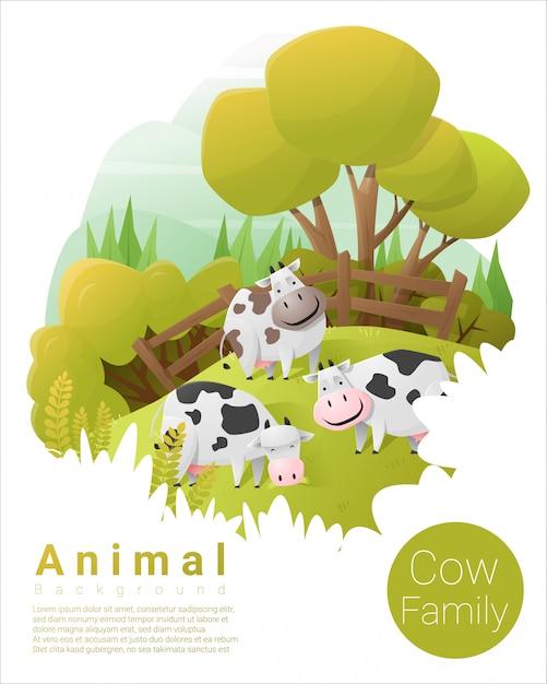 Fond de famille animal mignon avec des vaches Vecteur Premium