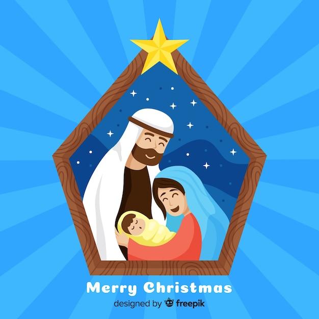 Fond de famille heureuse scène de la nativité Vecteur gratuit
