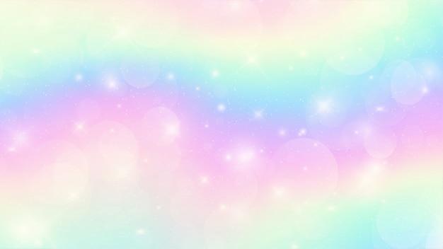 Fond de fantaisie holographique galaxy dans des couleurs pastel Vecteur Premium