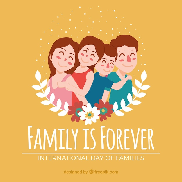 Fond fantastique de la belle famille avec décoration florale Vecteur gratuit