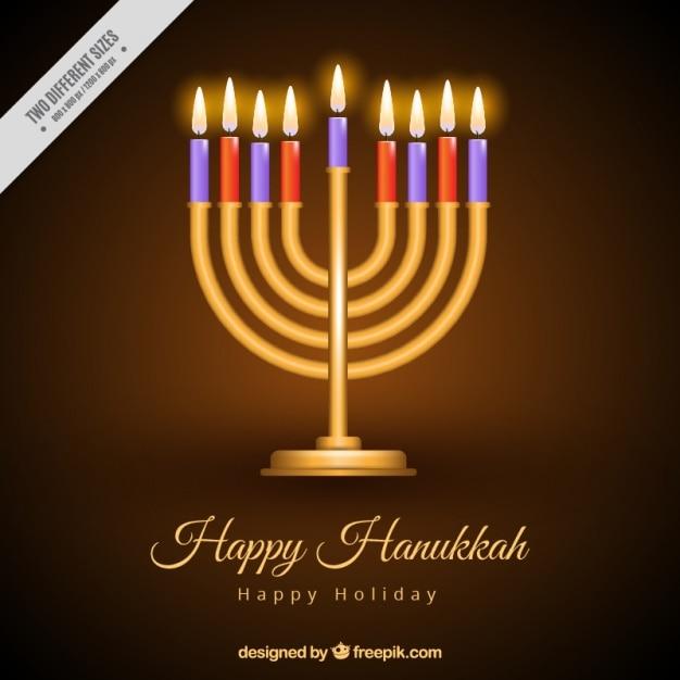 Fond fantastique de candélabres d'or avec des bougies allumées pour hanoukka Vecteur gratuit