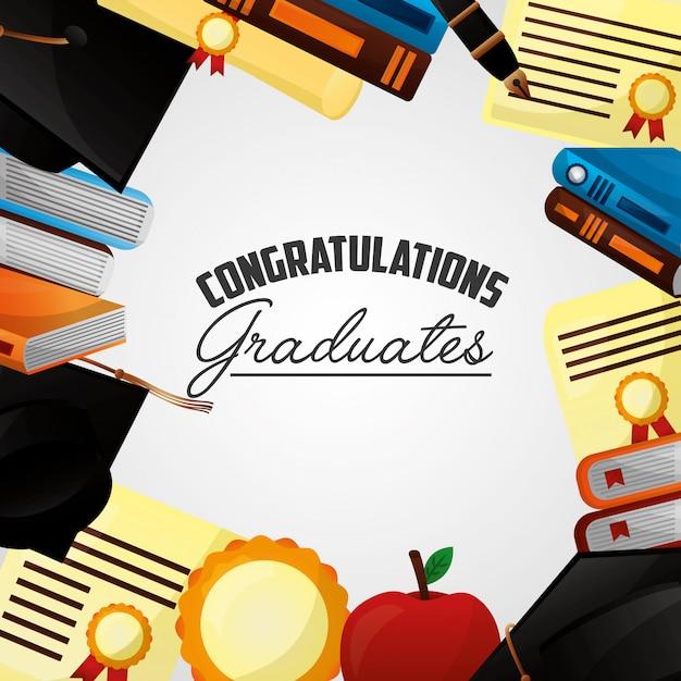 Fond de félicitations pour l'obtention du diplôme Vecteur gratuit
