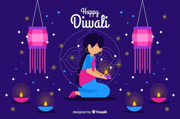 Fond de femme de fête diwali avec des bougies Vecteur gratuit
