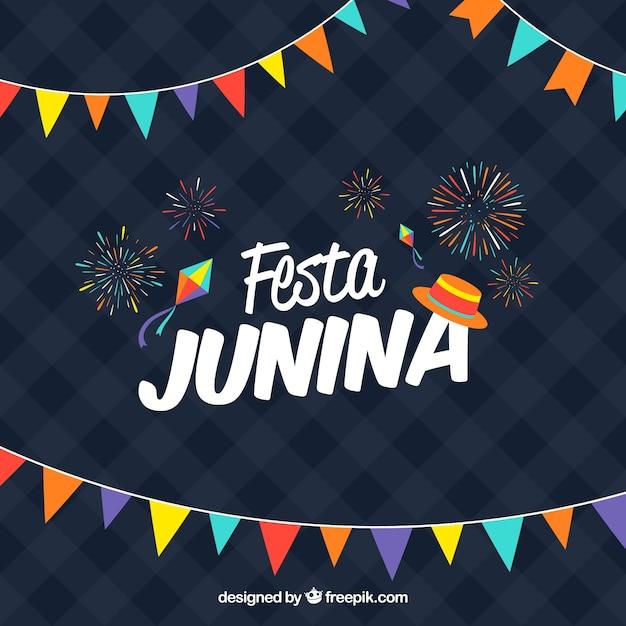Fond De Festa Junina Bleu Foncé Vecteur Premium