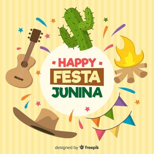Fond de festa junina dessinés à la main Vecteur gratuit