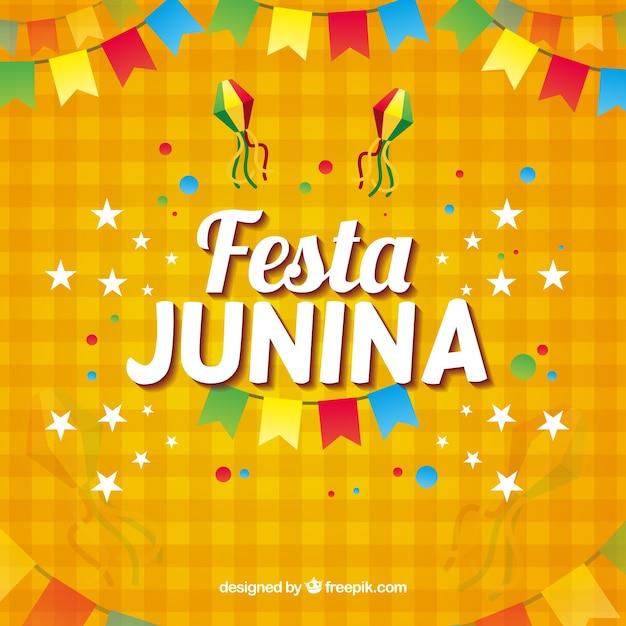 Fond de festa junina orange Vecteur gratuit