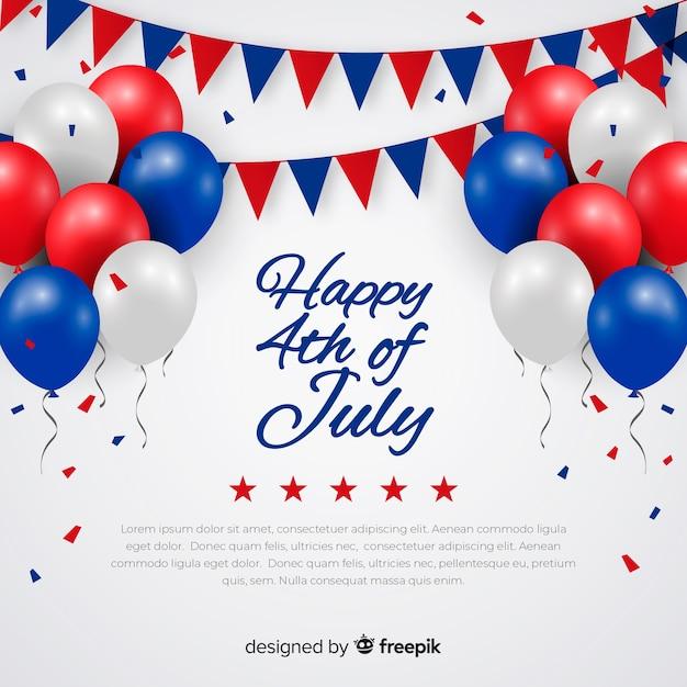 Fond festif du 4 juillet Vecteur gratuit