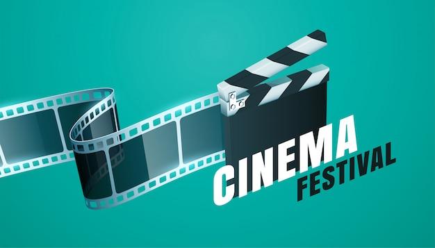 Fond De Festival De Film De Cinéma Avec Un Design De Panneau De Battant Ouvert Vecteur gratuit
