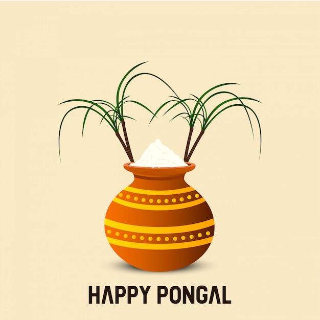 Fond de festival heureux pongal - vecteur Vecteur Premium