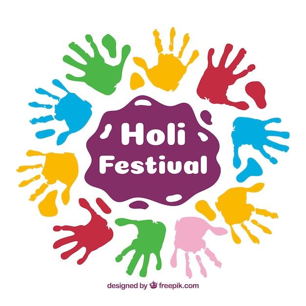 Fond de festival holi au design plat Vecteur gratuit