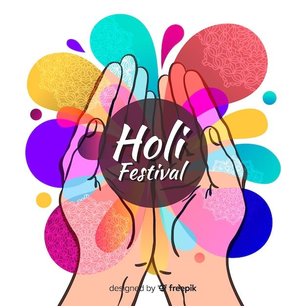 Fond de festival holi dessiné à la main Vecteur gratuit