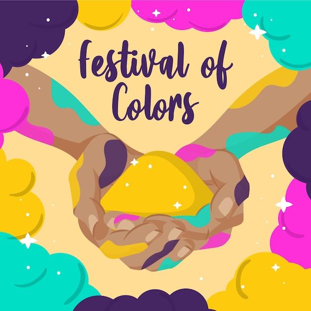 Fond De Festival De Holi Dessiné à La Main Vecteur gratuit