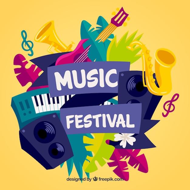 Fond De Festival De Musique Avec Des Instruments Dans Le Style Dessiné à La Main Vecteur gratuit