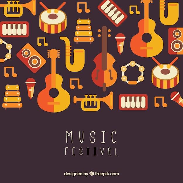 Fond de festival de musique avec des instruments dans le style plat Vecteur gratuit