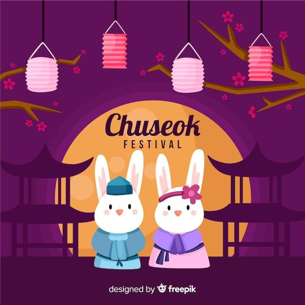 Fond De Festival Plat Heureux Chuseok Vecteur Premium