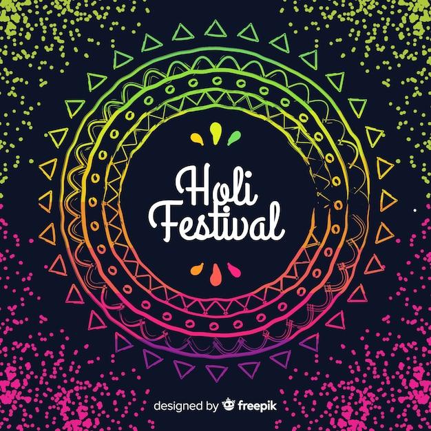 Fond de festival plat holi Vecteur gratuit