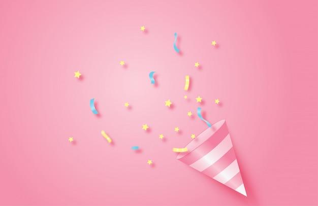 Fond De Fête D'anniversaire. Cône De Popper Rose Explosif Avec Des Confettis. Vecteur Premium