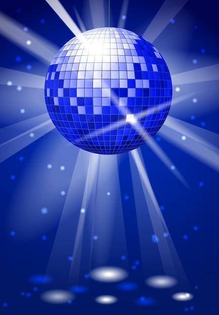 Fond fête club de danse avec boule disco. ballon de danse brillant reflet Vecteur Premium