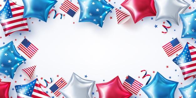 Fond De Fête Du 4 Juillet Célébration De La Fête De L'indépendance Des états-unis Avec Des Ballons En Forme D'étoiles Américaines. Vecteur Premium