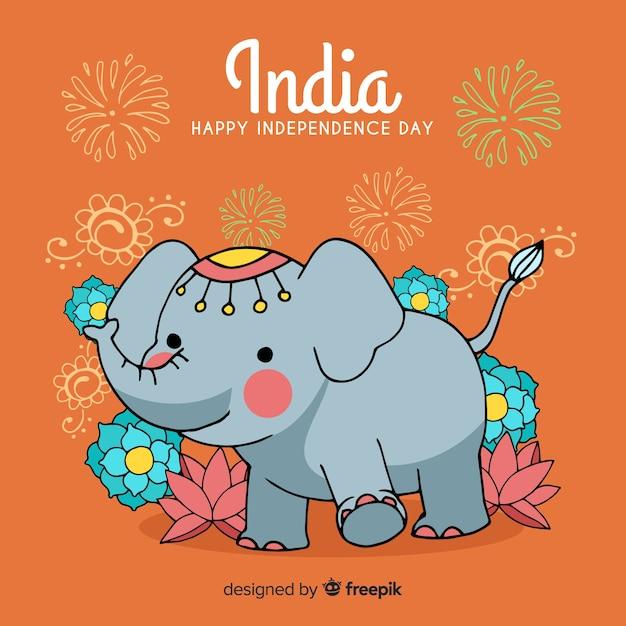Fond de fête de l'indépendance de l'inde dessinés à la main Vecteur gratuit