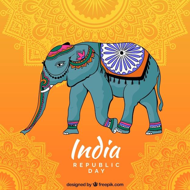 Fond de la fête de l'indépendance indienne avec éléphant décoratif Vecteur gratuit
