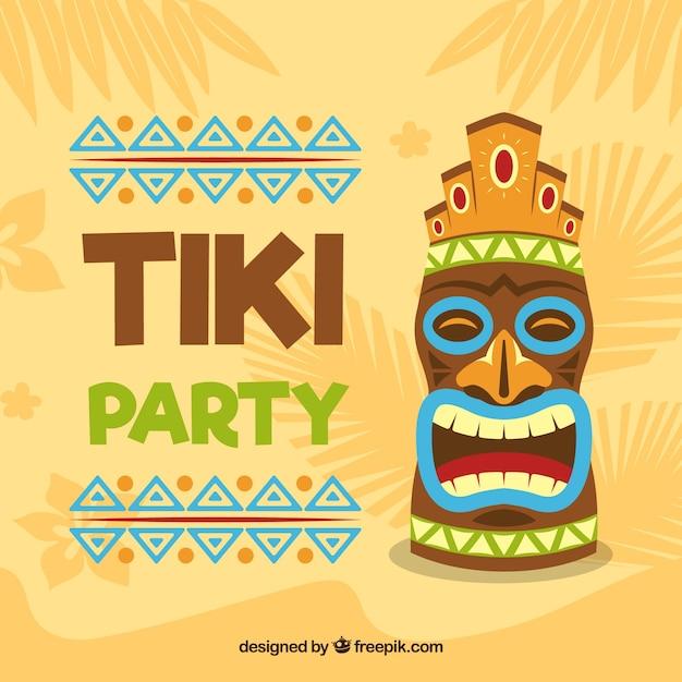 Fond de fête avec masque tiki Vecteur gratuit