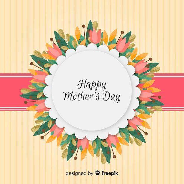 Fond de fête des mères cadre floral Vecteur gratuit