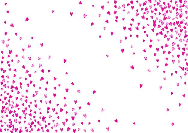 Fond de fête des mères avec des confettis de paillettes roses. entendre isolé Vecteur Premium